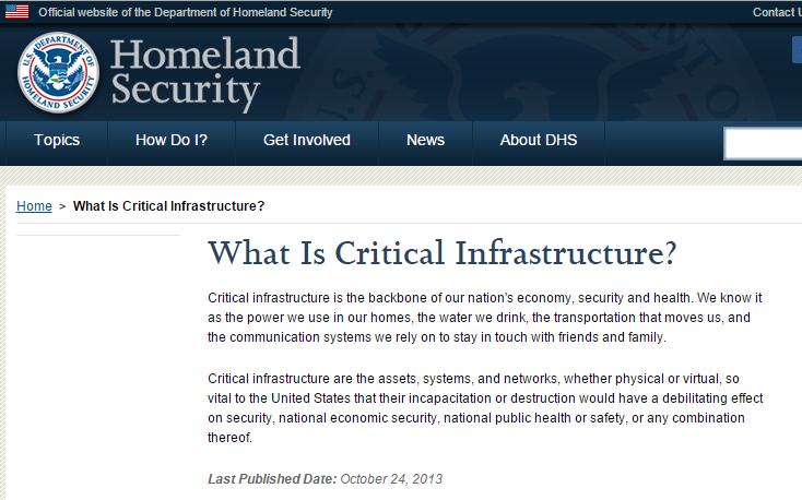DOHS Critical Infrastructure Definition