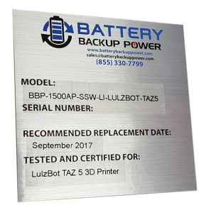 Battery Backup Power Uninterruptible Power Supply (UPS) Information Tag